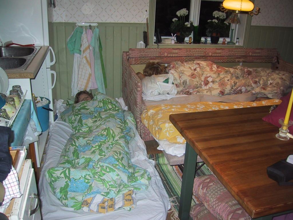 Jag sover i bäddsoffan och Anna på en madrass framför kylen